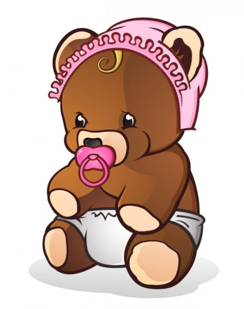 teddy bear with hat pacifier and diapers