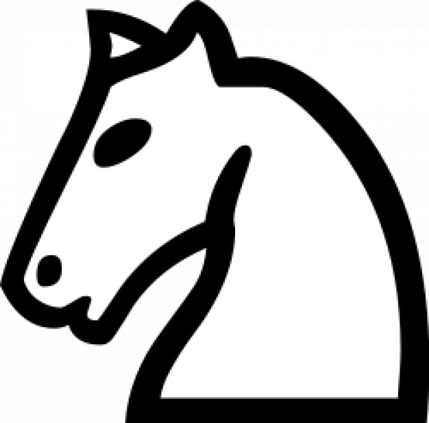 chess horse side view in simple line