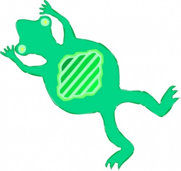 green flat frog swimming clip art in bottom view