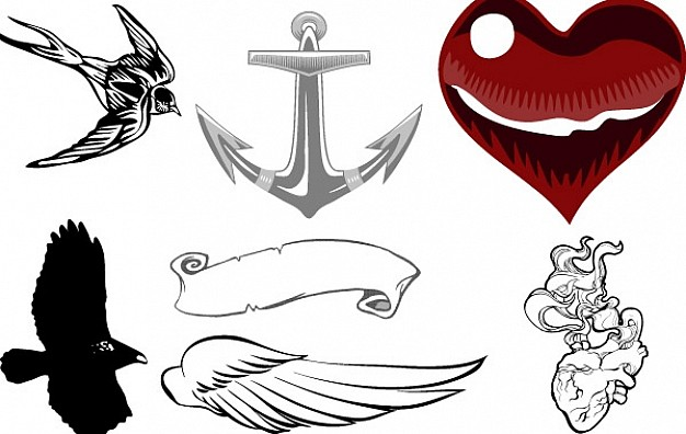 icon clip art Collection with Heart Nature Wings Anchor