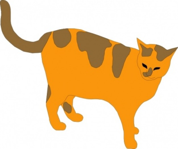 orange pussy cat with gray dots clip art