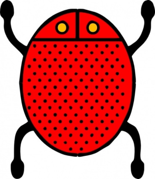 red and dotted coccinella rollandin clip art in top view