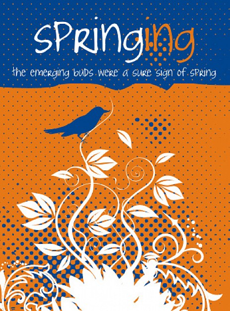 springing magzine clip art cover with flower and bird