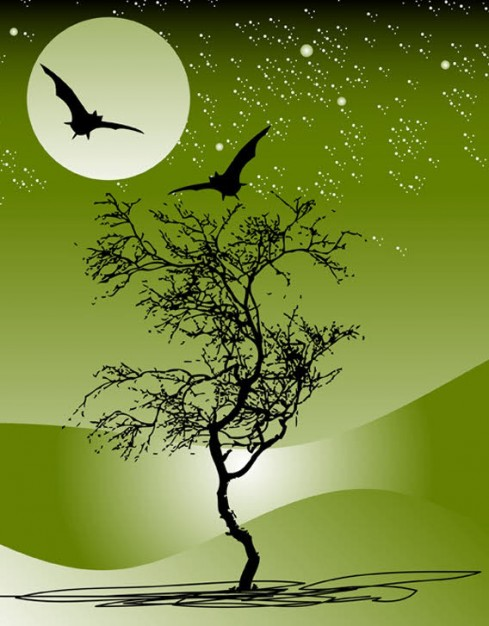 070 nature landscape of night with moon tree green sky star