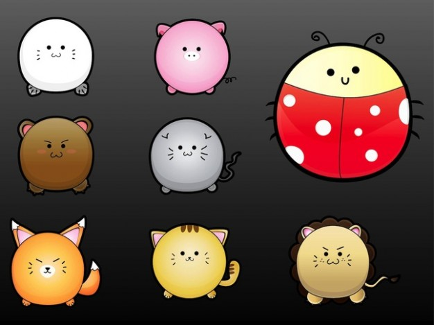 Abstract Adorable Kawaii animals set