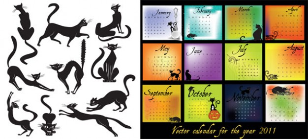 2011 Calendar Theme with elegant Black Cat Vector