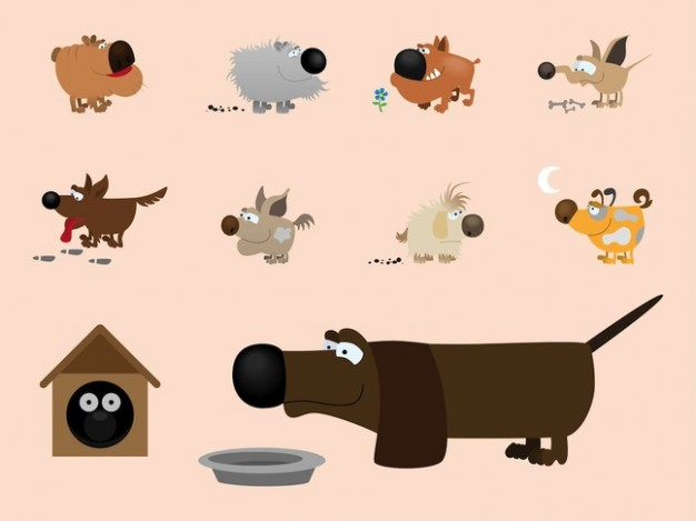 different pose pet dogs illustrations with big black nose