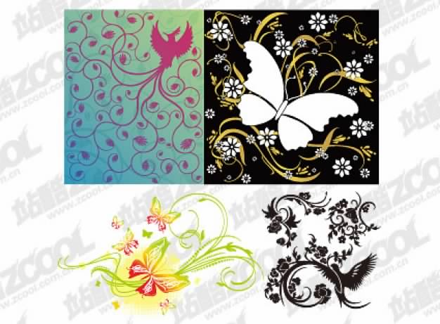 four bird or butterfly pattern combination of vector material