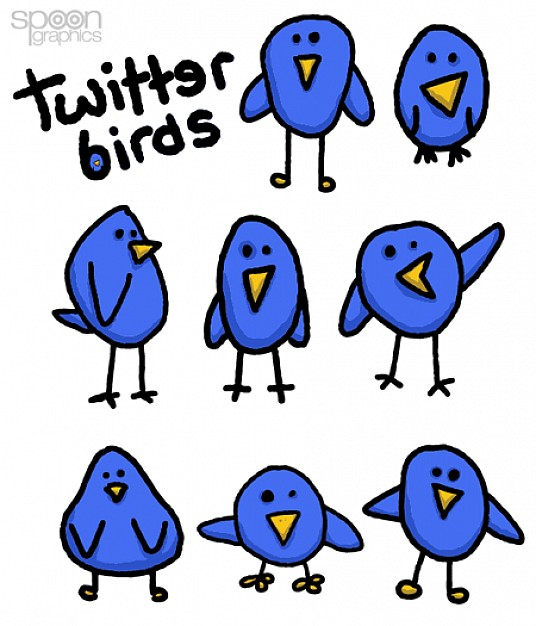 eight cute simple twitter bird doodle graphics