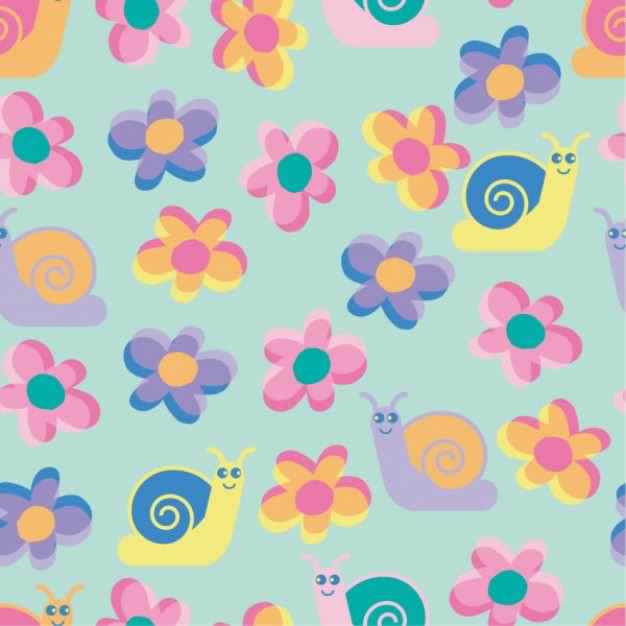 a continuous background with Lovely flowers and snail