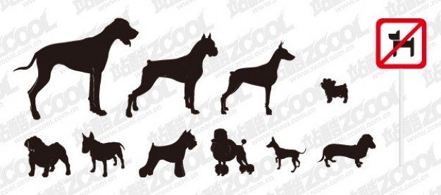 A variety of dog silhouette with forbidden lable vector material