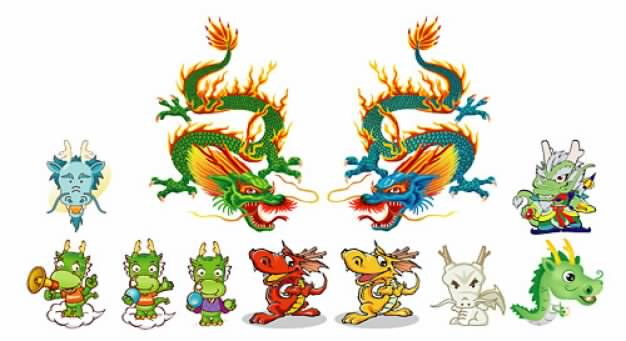 A variety of Long dragon material of chinese style