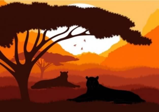 African animal silhouette pattern with leopard and sunburst