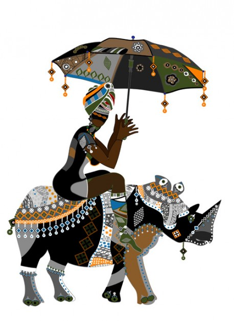 African girl riding bull with umbrella Illustration