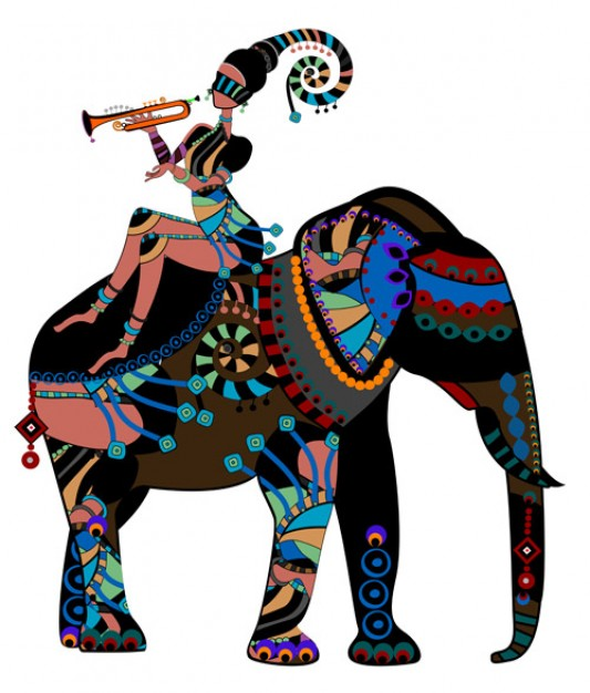 African girl riding elephant Illustration