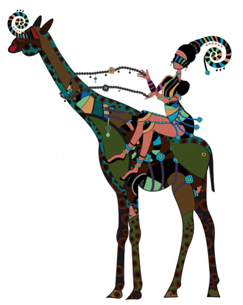 African girl riding giraffe Illustration clip art