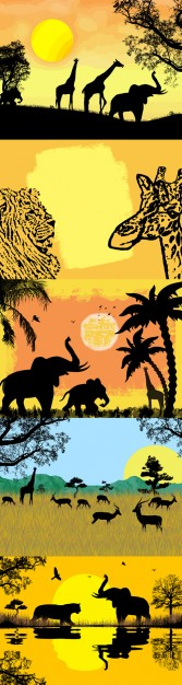African landscape for safari including giraffe tree sunset elephants