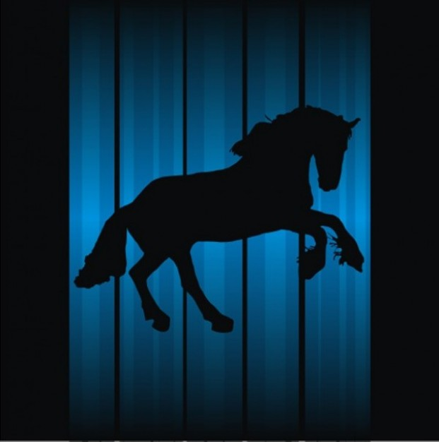 Amazing horse silhouette with blue vertical lines