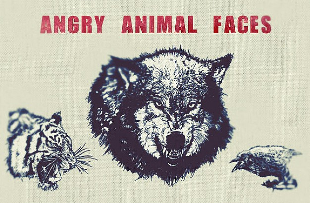 Angry Animal Face Vector like tiger wolf