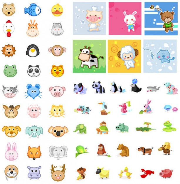 Animal Icon articles vector material like panda lion tiger dog cow etc