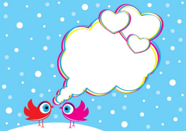 birds in love with big eyes and speech cloud in snowy day