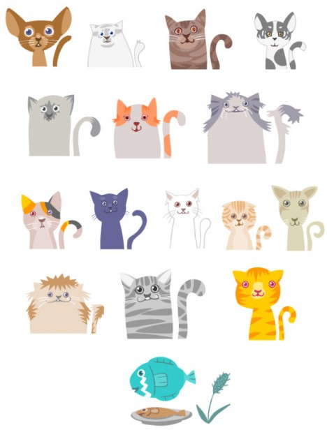 cats cartoons in many colors and shapes