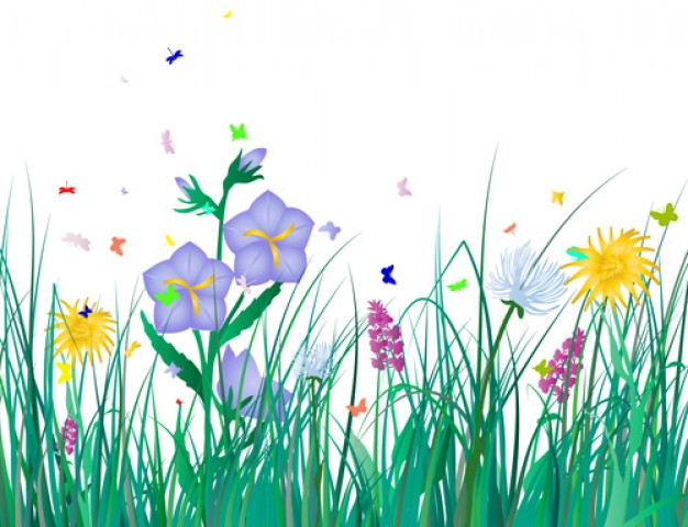 Free Grass flowers with dragonfly and butterfly