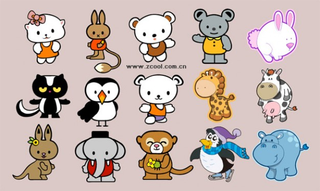 animals Cartoon vector material like dog mouse elephant owl penguin cat