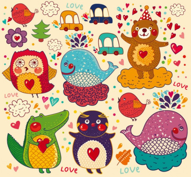 animals pattern with scales and cars penguin