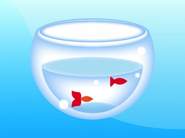 aquarium Fish bowl vector pack with blue background