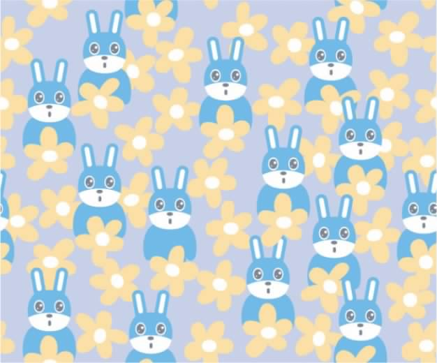 background material with Cute rabbit vector flowers