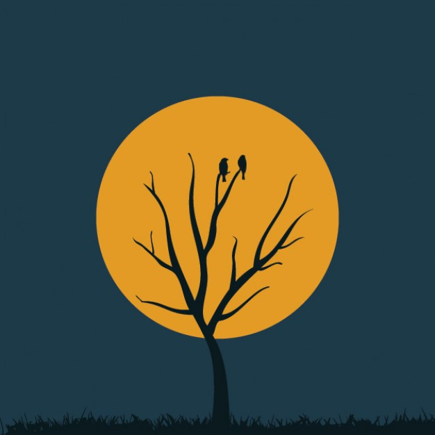 bald tree with yellow moon background