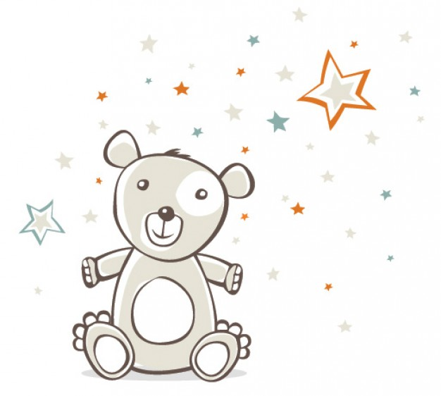 bear toy for Childish Vector with stars background