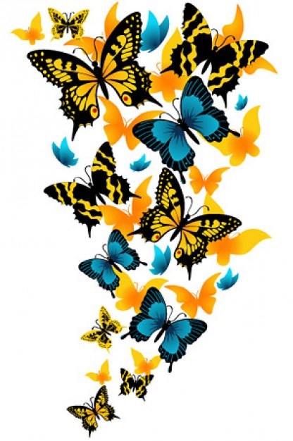 Beautiful butterfly flow flying up vector material