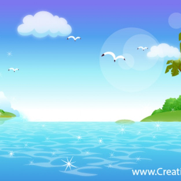 beautiful Natural artwork design with sea cloud seagull sky background vector set