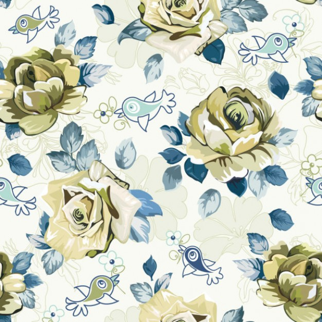 Beautiful pattern background with rose flowers and blue leaf vector material