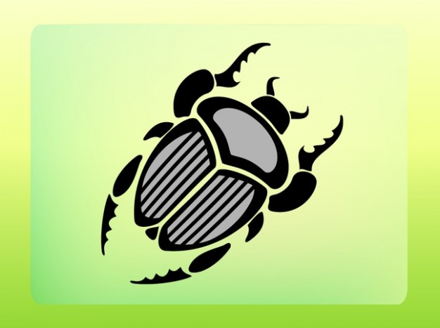 Beetle icon with horns over light green yellow background
