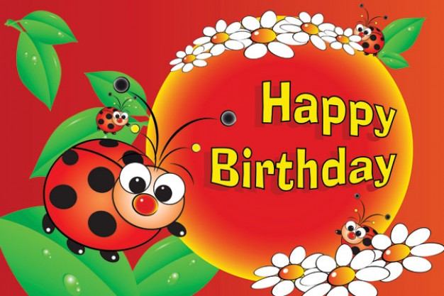 birthday lovely with ladybug and ball flowers  leaf vector material for happy birthday