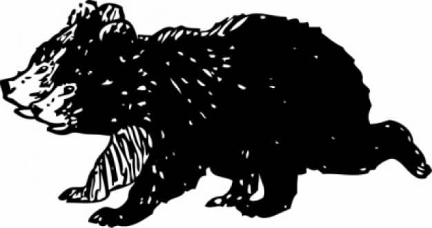 black bear cubs running clip art in side view