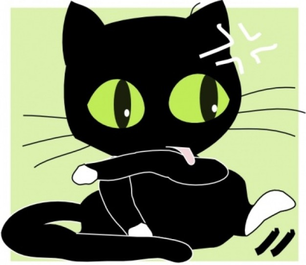 black cat clip art with green background