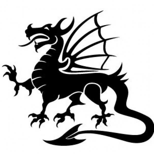 Black Dragon with wings Vector Image