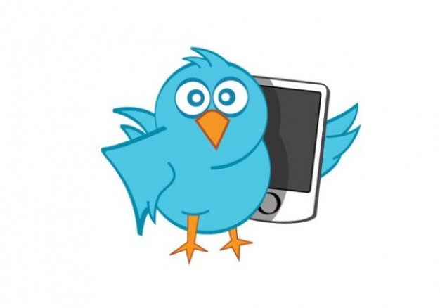 Blue bird twitter with phone vector icon