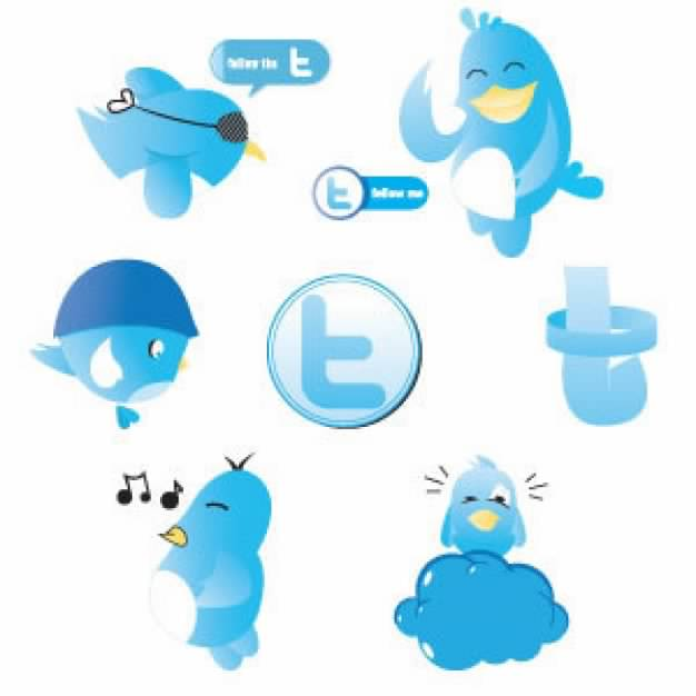 blue Twitter icon with different expression