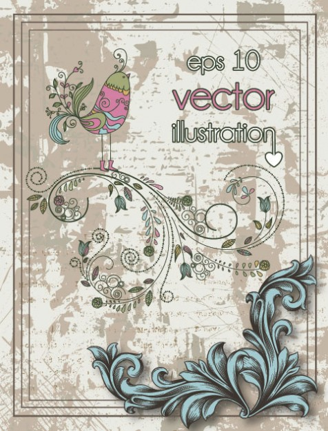 book cover Retro pattern background with bird swirl