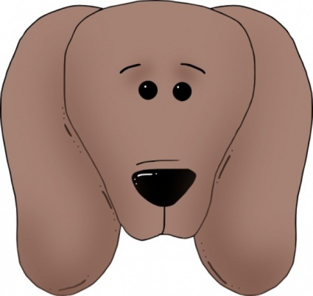 brown dog face front view clip art with white background