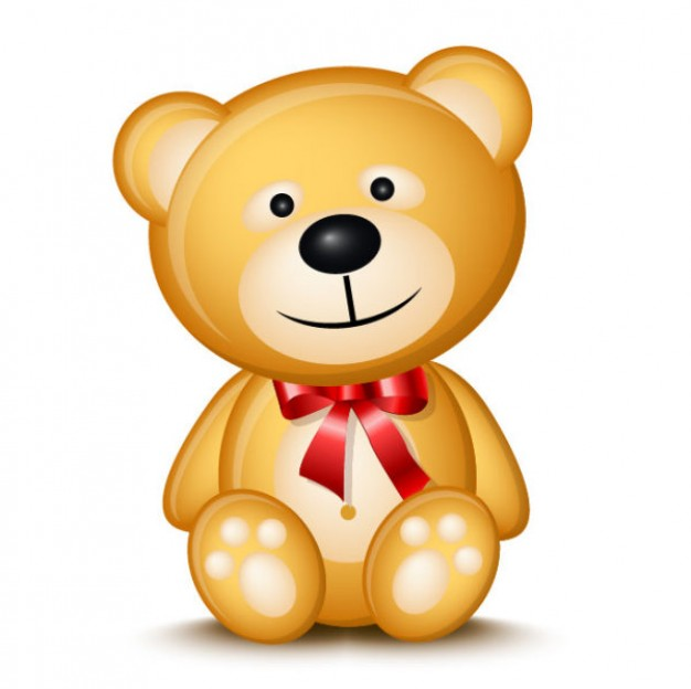 brown teddy bear toy in front view vector