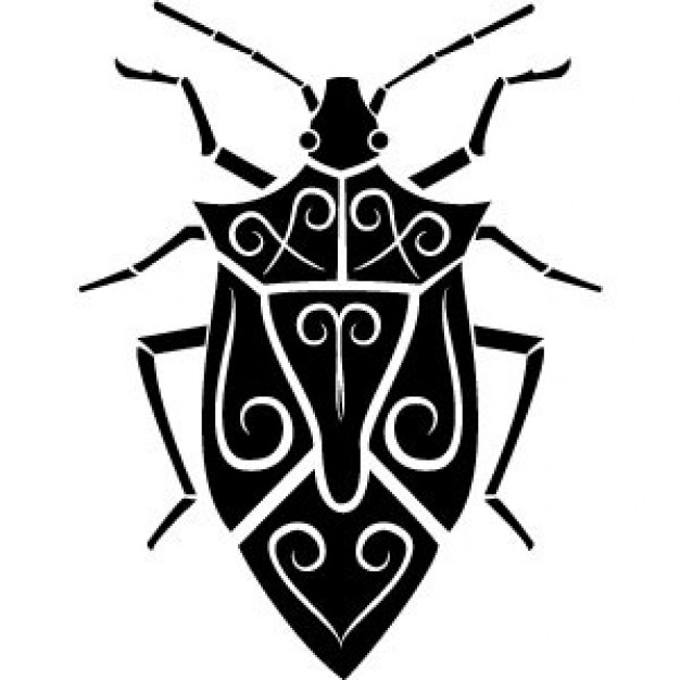 Bug insect top view vector with swirls back