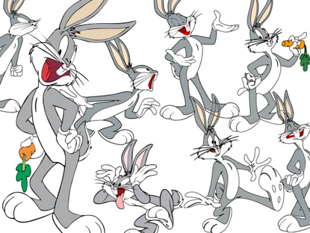Bugs Bunny Cartoon Vector material with happy expression