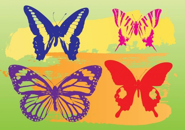 Butterflies Vector Graphics with green background