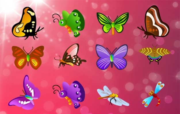 Butterflies vector set with pink background